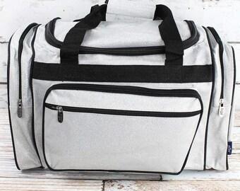 "Glitz & Glam Silver 20"" Duffle Bag Cheer Bag Kids Duffle Bag Gym Bag Girlie Carry On"