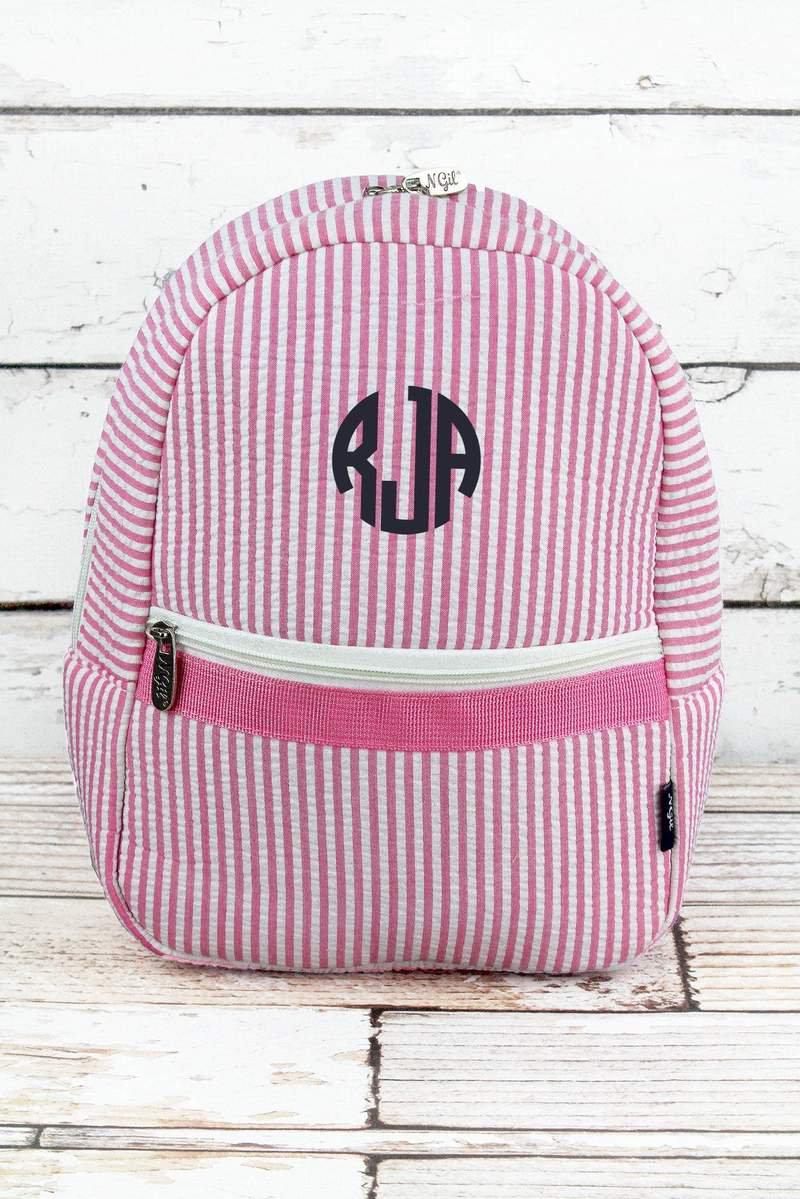 207e4590c8 Striped Seersucker Small Backpack in Navy or Pink  Toddler Backpack  Preschool  Backpack  Diaper Bag