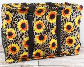 Sunflower Leopard Extra Large Eco Friendly Bag Farmers Market Bag Toy Basket