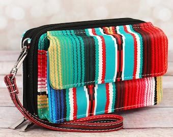 Southwest Serape Organizing Clutch Crossbody/ Crossbody Handbag/ Crossbody Purse/ Over Shoulder Canvas Bag/ Mother's Day Gift/ Gift for Mom