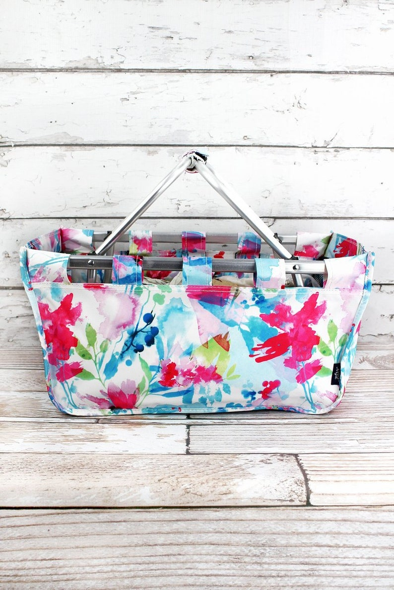 Floral Watercolor Collapsible Market Basket Grocery Tote Picnic Basket