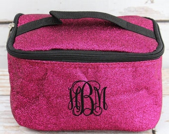 Glitz & Glam Hot Pink Top Lid Makeup Bag for Teen Girl Gifts Cosmetic Travel Case Cosmetic Bag Gift For Her