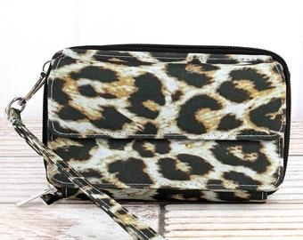 Leopard Organizing Clutch Crossbody Handbag/ Crossbody Purse/ Over Shoulder Canvas Bag/ Mother's Day Gift/ Gift for Mom