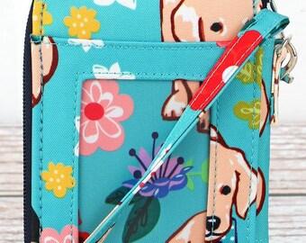 Dapper Dogs Wristlet/ Wallet Purse/ Keychain Wallet/ Keychain Wristlet/ Key Chain for Women