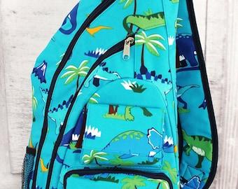 Dinosaur World Sling Backpack/ Sling Backpack for Hiking/ Sling Backpack Diaper Bag/ Diaper Bag for Dads/ Festival Backpack