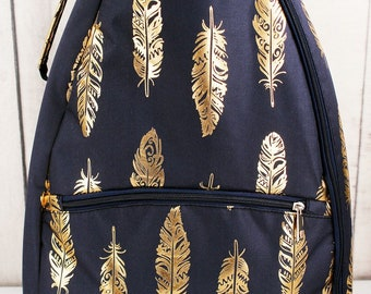 Metallic Gold Fancy Feathers in Navy Personalized Tennis Backpack For Women Custom Tennis Gifts For Her Tennis Bag