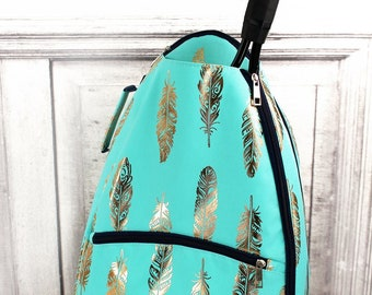 Metallic Gold Fancy Feathers in Mint Personalized Tennis Backpack For Women Custom Tennis Gifts For Her Tennis Bag