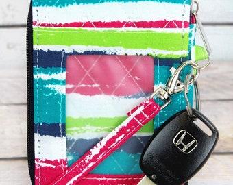 Caribbean Stripe Quilted Wristlet/ Wallet Purse/ Keychain Wallet/ Keychain Wristlet/ Key Chain for Women