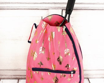 Metallic Gold Straight & Arrow in Coral Personalized Tennis Backpack For Women Custom Tennis Gifts For Her Tennis Bag