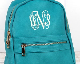 Turquoise Small Lightweight Faux Leather Backpack Monogram Backpack/ Personalized Purse/ Monogrammed Backpack