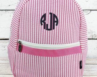 Striped Seersucker in Pink Preschool Backpack Mini Backpack Purse Backpack Toddler Diaper Bag Backpack Small Backpack