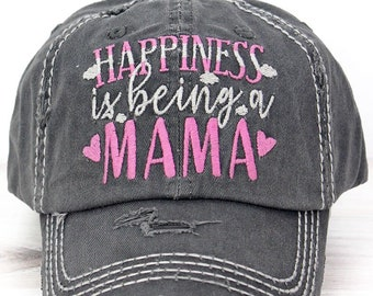 Happiness Is Being A Mama Decorative Ball Cap in Black Graphic Baseball Hat Bad Hair Day Baseball Hat/ Mother's Day Gift