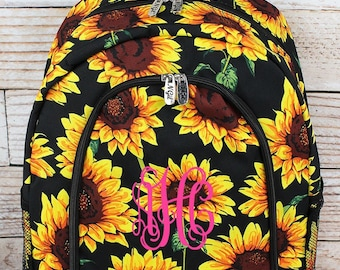 Sunflower Backpack for Teens Personalized Backpack Kids Monogrammed Backpack