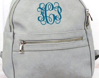 Gray Lightweight Faux Leather Backpack Monogram Backpack/ Personalized Purse/ Monogrammed Backpack