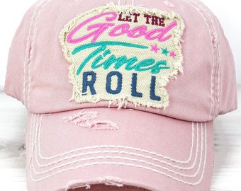 Let The Good Times Roll Decorative Ball Cap in Rose Graphic Baseball Hat Bad Hair Day Baseball Hat/ Mother's Day Gift