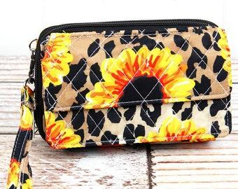 Sunflower Leopard Organizing Clutch Crossbody/ Crossbody Handbag/ Crossbody Purse/ Over Shoulder Canvas Bag/ Mother's Day Gift/ Gift for Mom