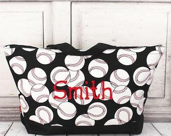 Baseball With Black Trim Wide Tote Bag/ Over Shoulder Purse/ Over Shoulder Bag/ Beach Bag/ Weekender Bag