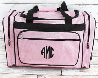 """Glitz & Glam Pink 23"""" Duffle Bag Personalized Cheer Bag Kids Duffle Bag Gym Bag Girlie Carry On"""