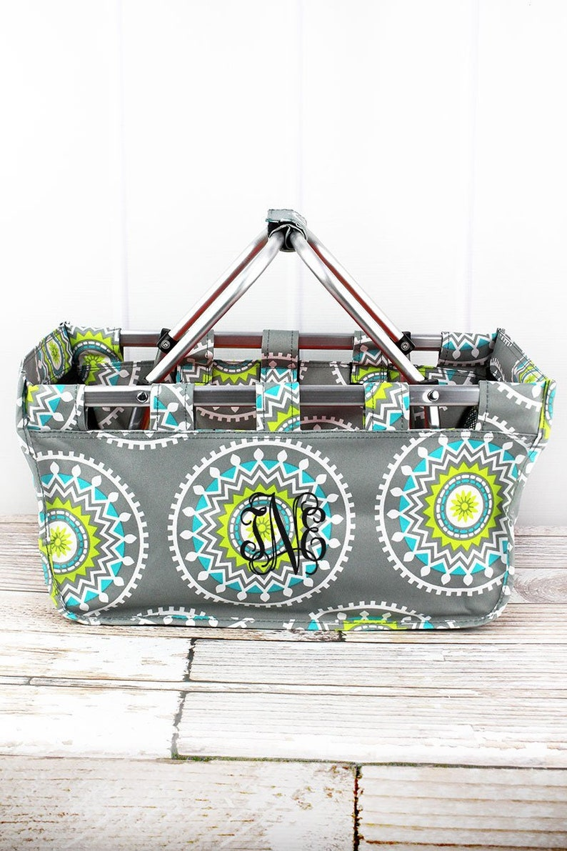 Mandala Garden Collapsible Market Basket Grocery Tote Picnic Basket
