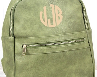 Olive Lightweight Faux Leather Backpack Monogram Backpack/ Personalized Purse/ Monogrammed Backpack