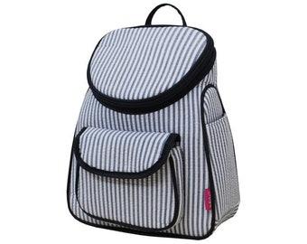 Striped Seersucker Navy Preschool Backpack Mini Backpack Purse Backpack Toddler Diaper Bag Backpack Small Backpack