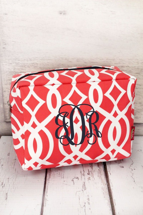 c681364cc7bc Mint or Coral Trellis Cosmetic Case/ Makeup Bag/ Gift for Teen/ Gift for  Mom/ Mothers Day Gift/ Bridesmaid Gift/ Bridal Party Gift