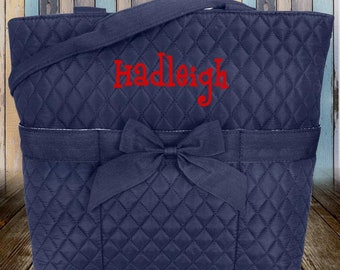 Navy Quilted Cloth Diaper Bag Quilted Tote Bag Baby Shower Gift