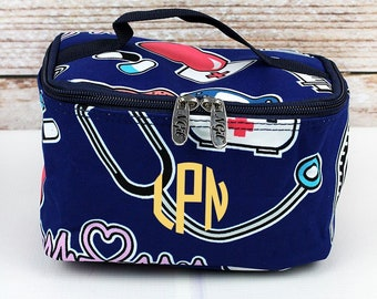 Nurse Love With Navy Trim Top Lid Makeup Bag for Teen Girl Gifts Cosmetic Travel Case Cosmetic Bag Gift For Her