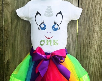 First Birthday Unicorn Sparkly Tee and Tutu Set/ Unicorn Dress/ First Birthday Outfit Girl/ First Birthday Girl/ First Birthday Gift/