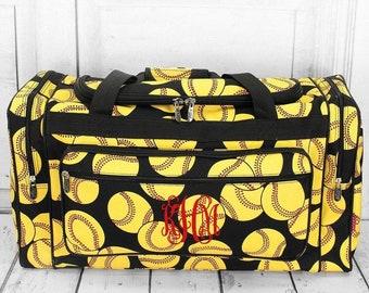 """Softball 23"""" Duffle Bag Personalized Cheer Bag Kids Duffle Bag Gym Bag Girlie Carry On"""