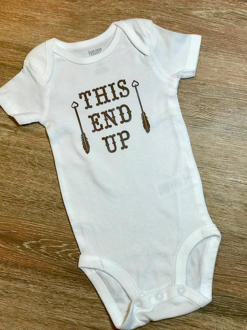 This End Up Funny Baby Onesie Baby Shower Gift Dad Jokes Etsy