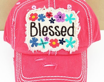 Blessed Floral in Distressed Salmon Graphic Baseball Hat / Bad Hair Day Baseball Hat/ Mother's Day Gift/ Gift for Mom