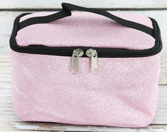 Glitz & Glam Pink Top Lid Makeup Bag for Teen Girl Gifts Cosmetic Travel Case Cosmetic Bag Gift For Her