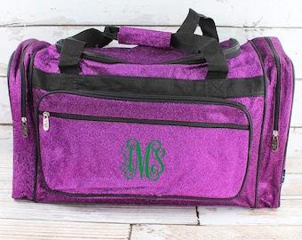 "Glitz & Glam Purple 23"" Duffle Bag Personalized Cheer Bag Kids Duffle Bag Gym Bag Girlie Carry On"