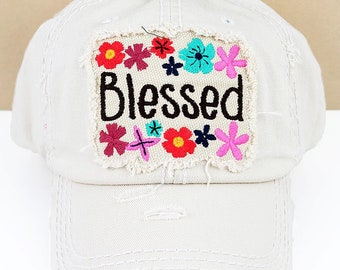 Blessed Floral in Distressed Stone Graphic Baseball Hat / Bad Hair Day Baseball Hat/ Mother's Day Gift/ Gift for Mom