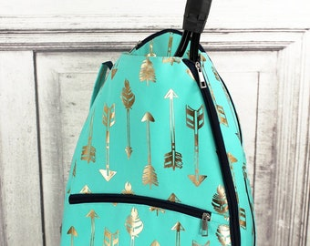 Metallic Gold Straight & Arrow in Mint Personalized Tennis Backpack For Women Custom Tennis Gifts For Her Tennis Bag