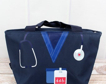 Scrub Life in Navy Insulated Lunch Box for School Lunch Bag for Women Lunch Bag for Nurse