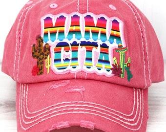 Mamacita Serape Decorative Ball Cap in Salmon Graphic Baseball Hat Bad Hair Day Baseball Hat/ Mother's Day Gift
