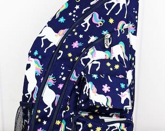 Unicorn Dreams Sling Backpack/ Sling Backpack for Hiking/ Sling Backpack Diaper Bag/ Diaper Bag for Dads/ Festival Backpack