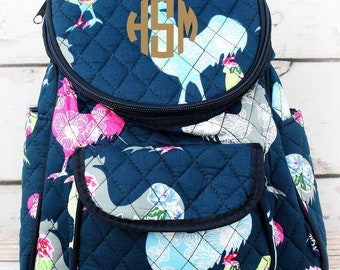 Rosy Rooster Quilted Preschool Backpack Mini Backpack Purse Backpack Toddler Diaper Bag Backpack Small Backpack