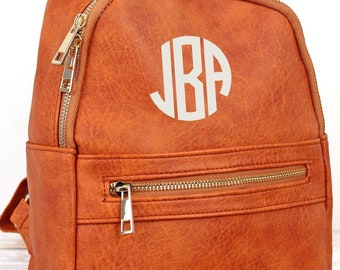 Dark Orange Small Lightweight Faux Leather Backpack Monogram Backpack/ Personalized Purse/ Monogrammed Backpack
