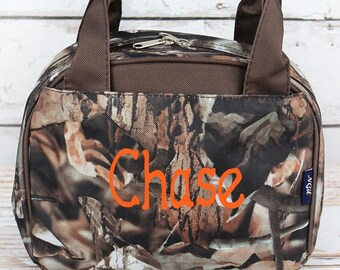 Natural Camo in Brown Trim Insulated Lunch Box for School Lunch Bag for Women Lunch Bag for Nurse