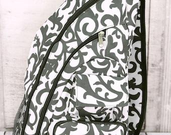 Gray Ivy Damask Sling Backpack/ Sling Backpack for Hiking/ Sling Backpack Diaper Bag/ Diaper Bag for Dads/ Festival Backpack