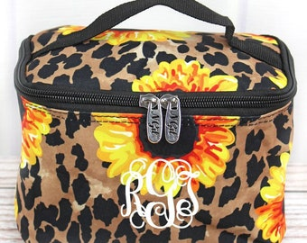 Sunflower Leopard Top Lid Makeup Bag for Teen Girl Gifts Cosmetic Travel Case Cosmetic Bag Gift For Her