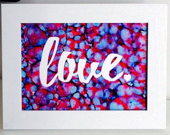 Love Original Painting / Love Painting / Love Wall Art / 8x10 or 5x7 Ink Painting