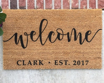 Gentil Personalized Doormat // Hand Painted Door Mat // Personalized Welcome Mat  // Welcome Door Mat // Custom Welcome Mat // Custom Door Mat