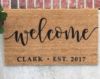Personalized Doormat // Hand-Painted Door Mat // Personalized Welcome Mat // Welcome Door Mat // Custom Welcome Mat // Custom Door Mat