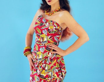 Hawaiian dress, Pinup dress, Tiki dress, Sarong dress, Rockabilly dress, Oceanfront dress, limited edition. Sizes S, M,  L, XL.