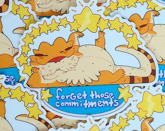 Forget Those Commitments Lounging Beardie Vinyl Sticker