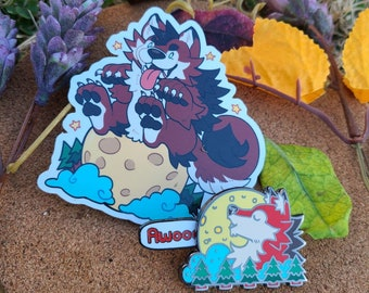 Howling Werewolf Sliding Enamel Pin || Comes with Free Vinyl Werewolf Sticker!